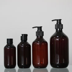 Amber Color Round 150/200/300/500ml Plastic Bottle Containers For Cosmetic