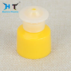 Non Spill Plastic Push Pull Caps , Pink Green Yellow Plastic Screw Cap Covers