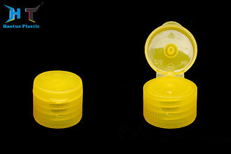 Yellow Color Flip Top Plastic Caps , Non Spill 20mm Flip Top Caps