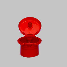 Transparent Flip Top Bottle Lids Red Polish Surface For Cream Bottle