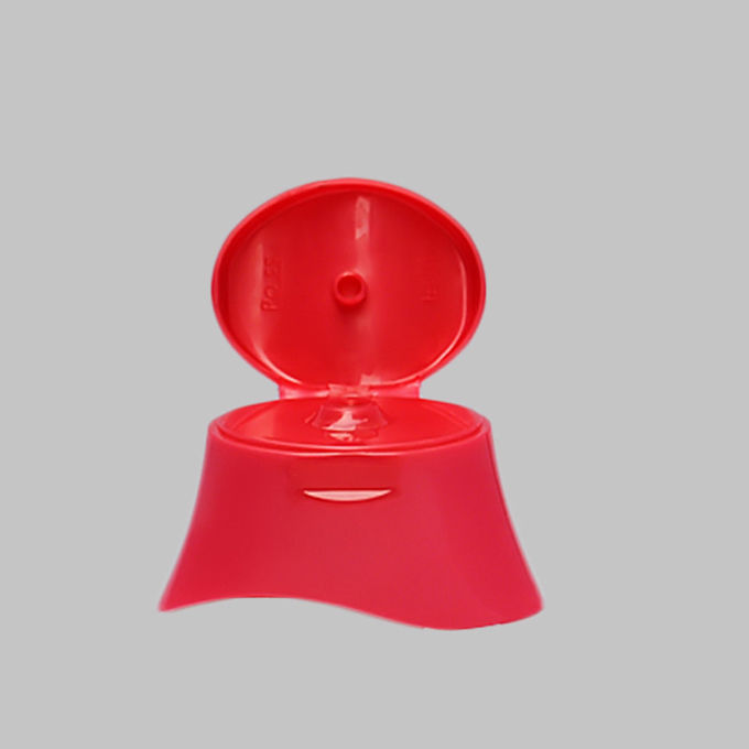 Red Color Cosmetic Plastic Shampoo Bottle Flip Top Lids Closure Caps