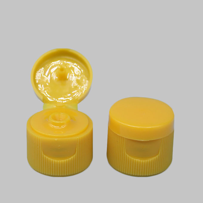 OEM Flip Top Bottle Lids 20.3 Mm Height Yellow Color With Ribbed Wall