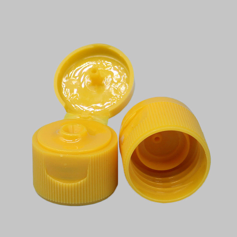 OEM Flip Top Bottle Lids 20.3 Mm Height Yellow Color With Ribbed Wall supplier